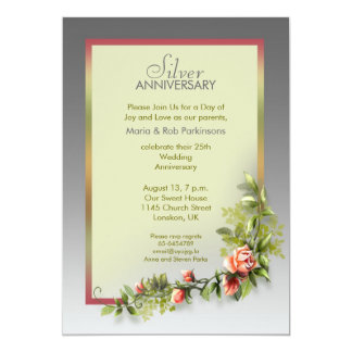 silver wedding anniversary - 25 years 13 cm x 18 cm invitation card