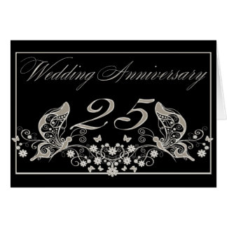 Silver Wedding Anniversary 25 Years Invitation Greeting Card