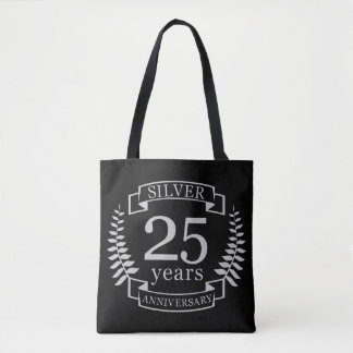 Silver wedding anniversary 25 years tote bag