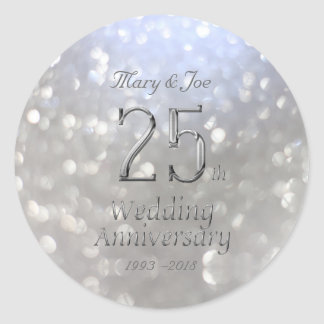 Silver Wedding Anniversary 25th Anniversary Bokeh Classic Round Sticker