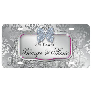 Silver Wedding Anniversary 25th License Plate