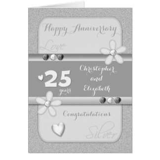 Silver Wedding Anniversary Card 25 years