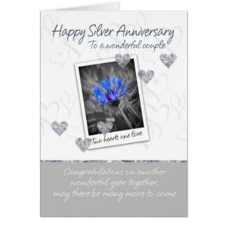 Silver Wedding Anniversary Card - 25 Years