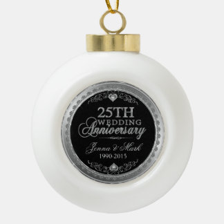 Silver Wedding Anniversary Ceramic Ball Christmas Ornament