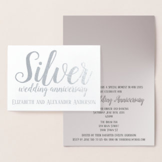 Silver Wedding Anniversary Foil Card