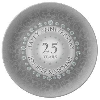 Silver Wedding Anniversary Porcelain Plate