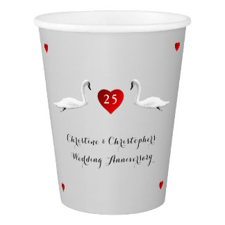 Silver Wedding Anniversary Swans Paper Cup