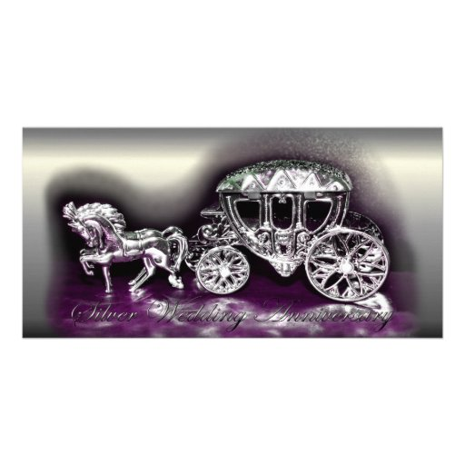Silver Wedding Anniversary with a Silver Coach Photo Greeting Card