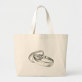 Silver Wedding Bands Save the Date Jumbo Tote Bag
