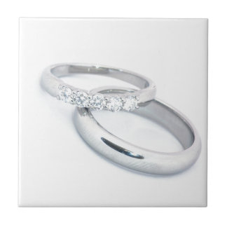 Silver Wedding Bands Save the Date Small Square Tile