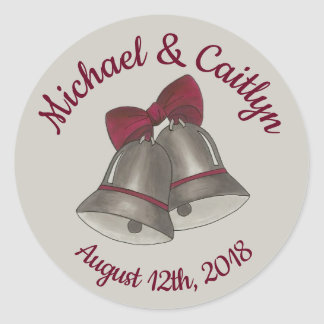 Silver Wedding Bells Engagement Save the Date Classic Round Sticker