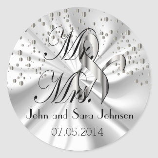 Silver Wedding for the Mr & Mrs | Personalize Classic Round Sticker