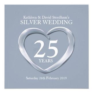 Silver wedding heart 25 years anniversary invite