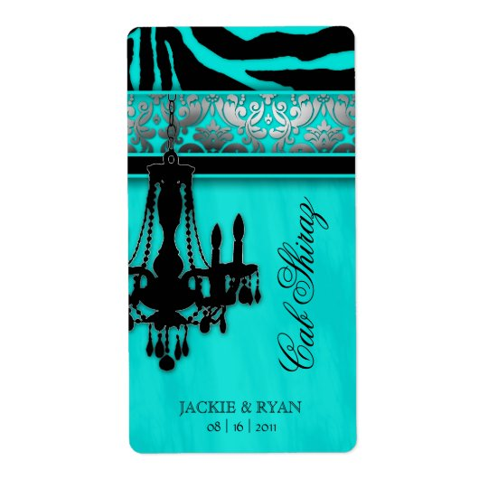 Silver Wedding Wine Label Chandelier Zebra Turquoi Shipping Label