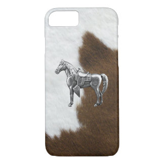 SILVER WESTERN HORSE Cow Hide Print iPhone 7 Case