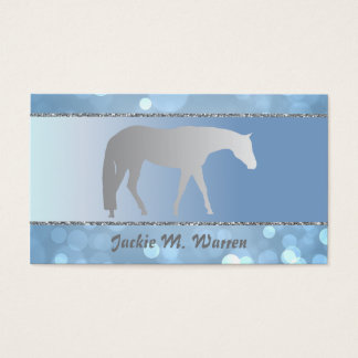 Silver Western Pleasure Horse on Blue Brokeh Business Card