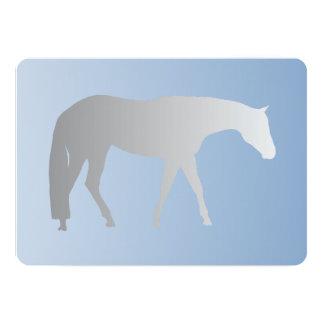Silver Western Pleasure Horse on Blue Brokeh 13 Cm X 18 Cm Invitation Card