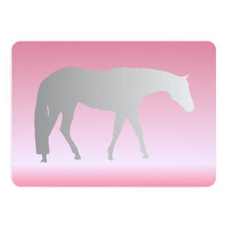 Silver Western Pleasure Horse on Pink Brokeh 13 Cm X 18 Cm Invitation Card