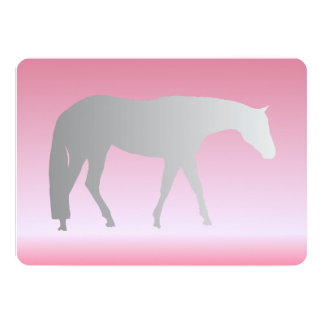 "Silver Western Pleasure Horse on Pink Brokeh 5"" X 7"" Invitation Card"