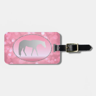 Silver Western Pleasure Horse on Pink Brokeh Luggage Tag