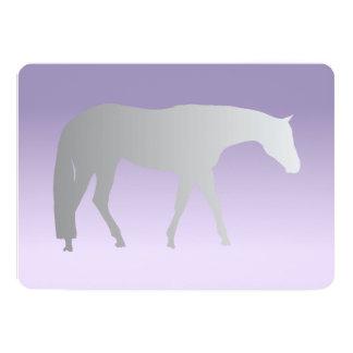 Silver Western Pleasure Horse on Purple Brokeh 13 Cm X 18 Cm Invitation Card
