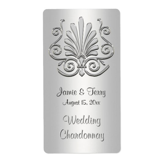 Silver White Art Deco Damask Party Wine Label 2 Shipping Label