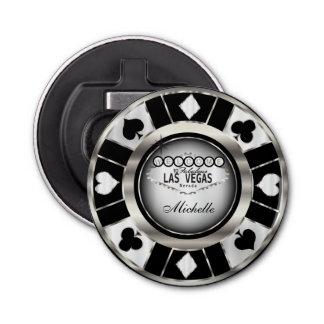 Silver, White, Black Poker Chip  - Personalize Bottle Opener