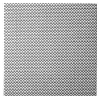 Silver White Carbon Fiber Print Large Square Tile