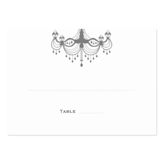 Silver & White Chandelier Place Cards Business Card