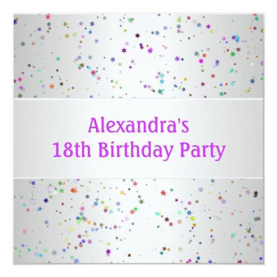 Silver White Colour Confetti 18th Birthday Party Card