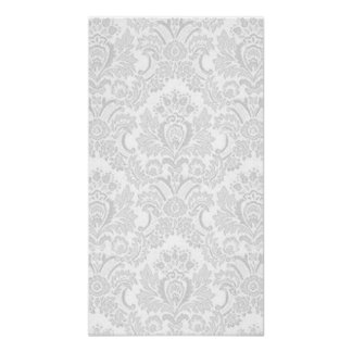 Silver & White Damask Poster