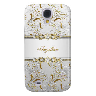 Silver White Gold Diamond Jewel Damask Samsung Galaxy S4 Cover