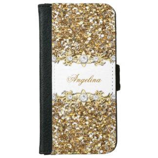Silver White Gold Diamond Jewel Glitter iPhone 6 Wallet Case