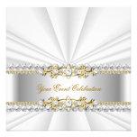 Silver White Gold Elegant Birthday Party Invitation