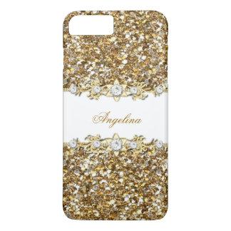 Silver White Gold Faux Diamond Jewel Glitter iPhone 8 Plus/7 Plus Case