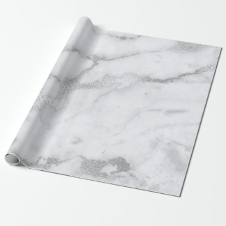 Silver White Gray Marble Stone Brushes Wrapping Paper