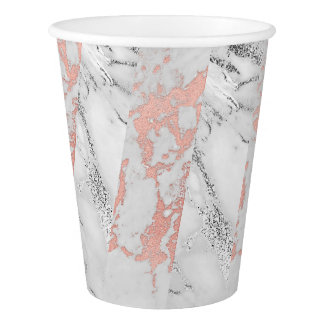 Silver White Gray Marble Stripes White Rose Gold Paper Cup