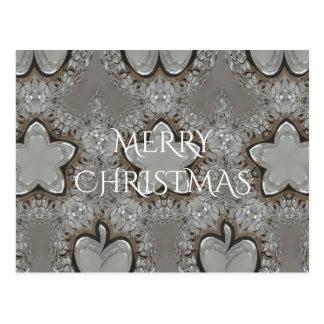Silver White Gray Shiny Star Merry Christmas Postcard