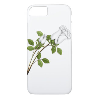 Silver White Roses Stem Leaves Green Floral Flower iPhone 7 Case