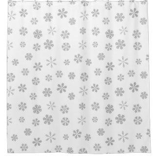 Silver White Snowflake Pattern Shower Curtain