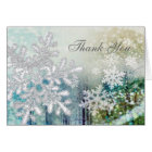 Silver white snowflakes Thank You Note Card