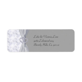 Silver, White Stars & Snowflakes Wedding Return Address Label