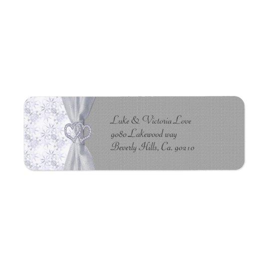 Silver, White Stars & Snowflakes Wedding Return Address Label