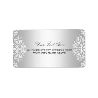 Silver White Vintage Glamour Address Label