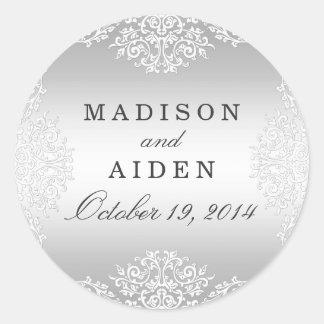 Silver White Vintage Glamour Wedding Sticker