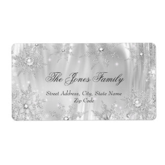 Silver White Winter Wonderland Christmas Holiday Shipping Label