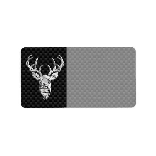 Silver Wild Deer on Carbon Fibre Style Decor Label