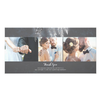 Silver Willow Tree Lights Vintage Wedding Thanks Photo Cards