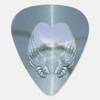 Silver Wings Wrapped Around a Heart Guitar Pick