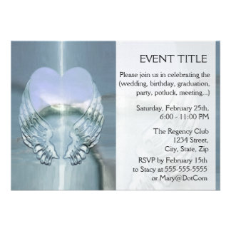 Silver Wings Wrapped Around a Heart Personalized Invitations